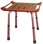 Adjustable Height Teak Bath Bench Stool Rectangular